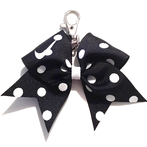Black Polka Dot Nike Swoosh Key Chain Bow