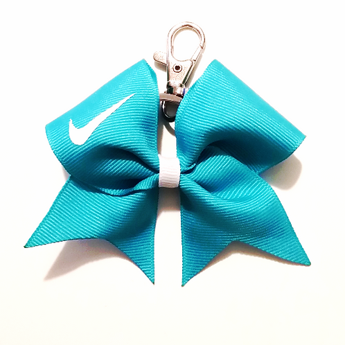 Teal Nike Swoosh Key Chain Bow