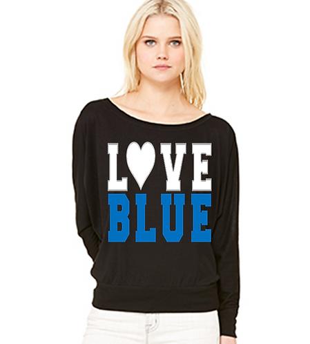 Love Blue Flowy Long Sleeve Tee