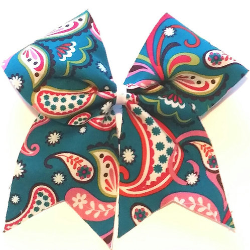 Teal Paisley Bow