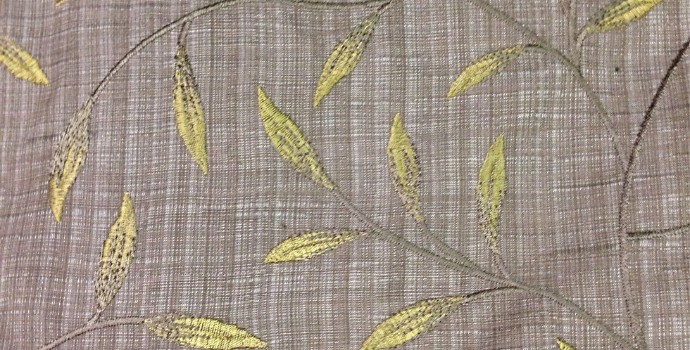 Gray and Chartreuse - Embroidered Vining