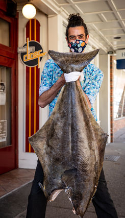 Fresh Halibut comes in 2x a week! (Yep thats a HUGE FISH!)