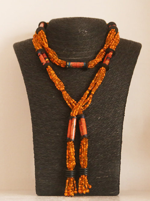 Beads and paper necklace