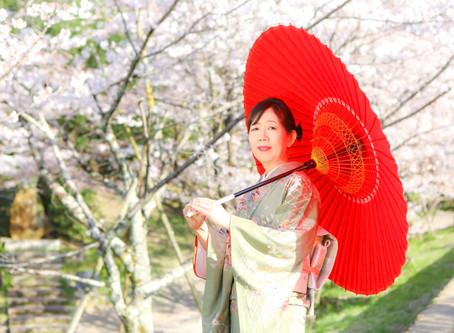 お持込みの着物で☆桜と