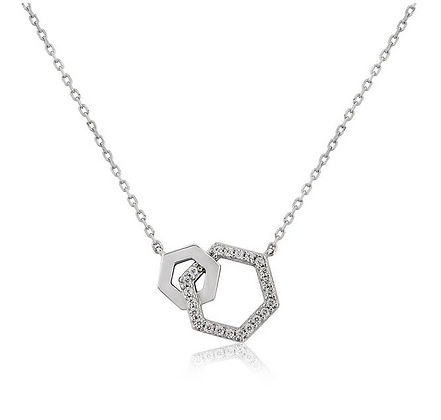 Waterford Sterling Silver Double Hexagon Pendant