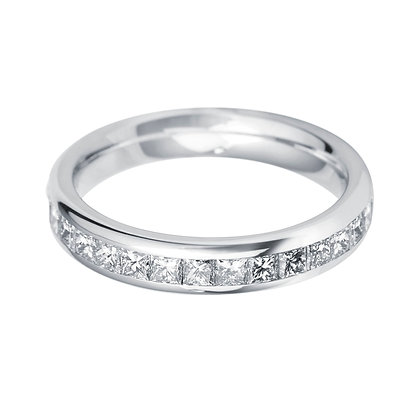 Diamond Princess cut half set Wedding ring