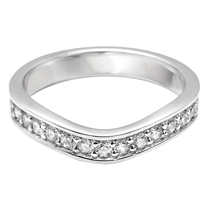 Diamond Pavé set shaped Wedding Ring