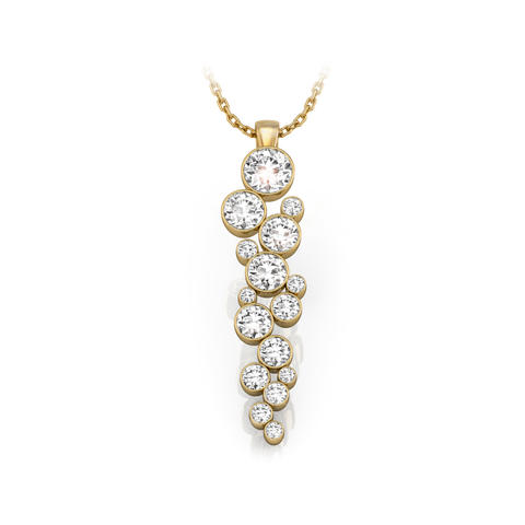 18ct Yellow Gold & Diamond Drop Necklace 1.40ct