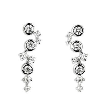 18ct White Gold and Diamond drop earrings.