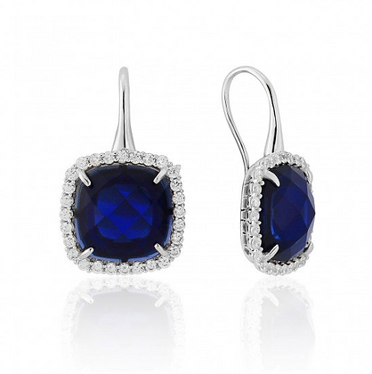 Waterford White Created Sapphire Cushion with Cubic Zirconia Earrings