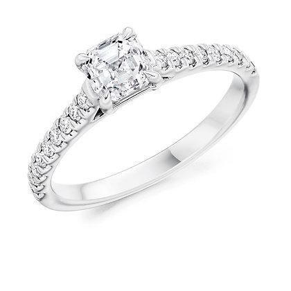 Platinum Asscher cut Diamond ring.