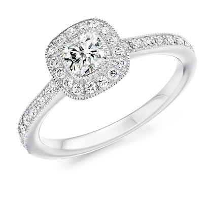 18ct White Gold Vintage Diamond Halo ring.