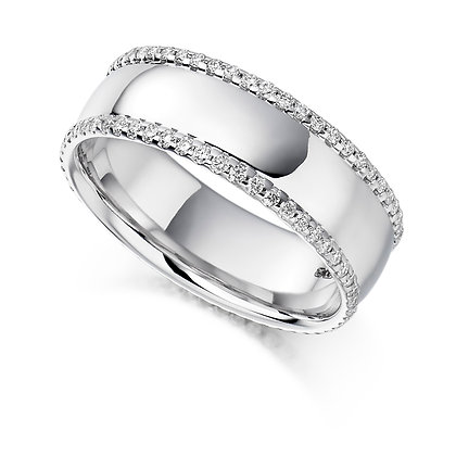platinum and diamond set wedding band