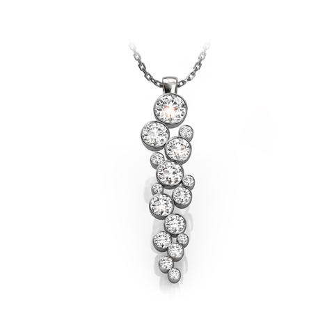 18ct White Gold or Platinum & Diamond Drop Necklace 1.40ct