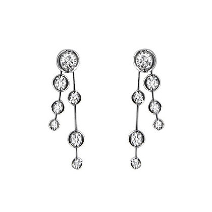 18ct White Gold and Brilliant cut Diamond drop earrings