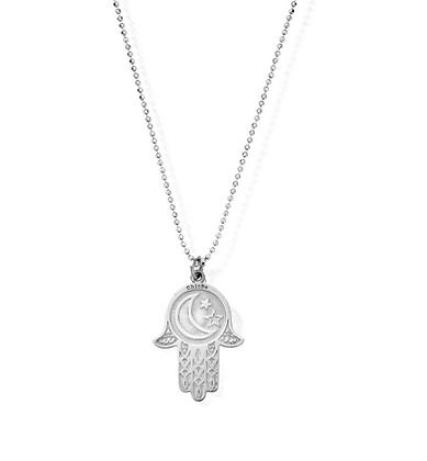 ChloBo Diamond Cut Chain With Moon & Star Hamsa Hand Pendant