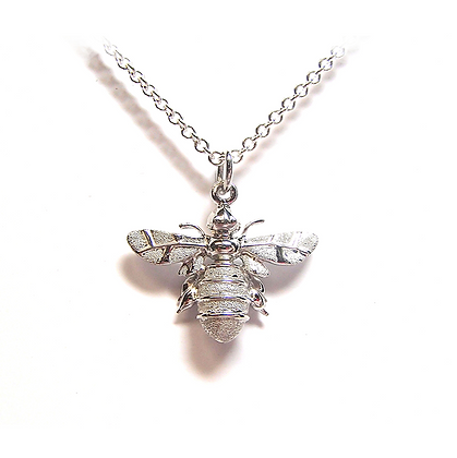 Lydias Bees Large Silver Pendant