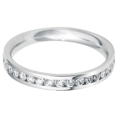 Diamond Flat Court Half Channel set Wedding Ring
