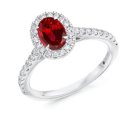 Platinum Oval cut Ruby and Diamond Ring