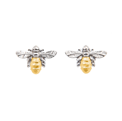 Lydias Bees Stud Earrings Silver & Gold
