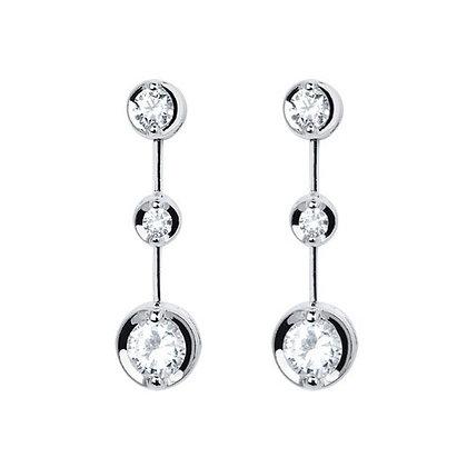 18ct White Gold 3 stone Diamond drop earrings