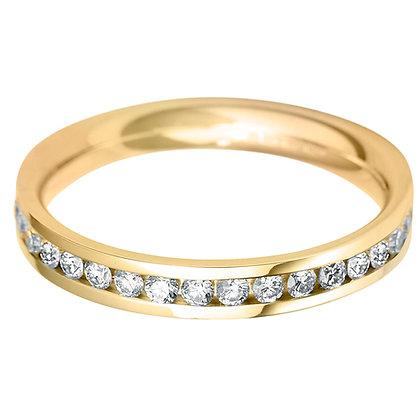 Diamond Flat Court Full Channel set Wedding ring