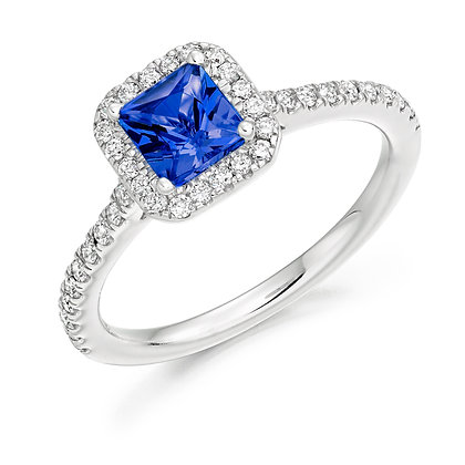 18ct White Gold Radiant cut Blue Sapphire Diamond Ring