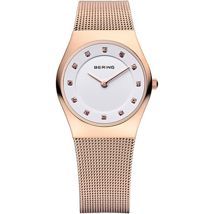 Bering Classic rose gold `milanaise dress watch