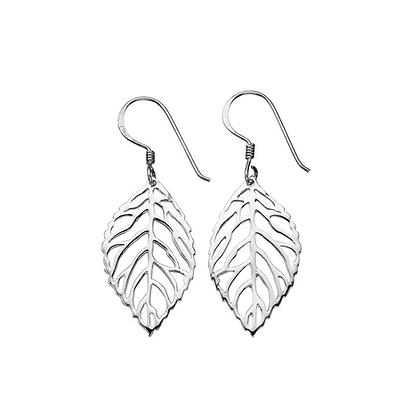 Silver Cut Out Leaf Drop Earrings