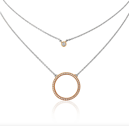 Waterford Silver and Rose Gold Double Necklace