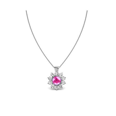 Halo Pink Sapphire Pendant