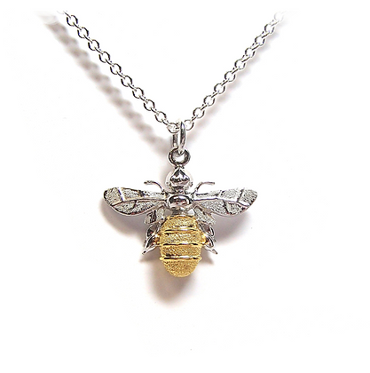 Lydias Bees Large Silver & Gold Pendant