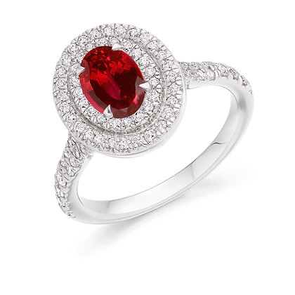18ct White Gold Oval cut Ruby and Diamond Ring