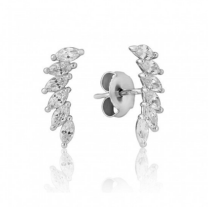 Waterford White Curved Cubic Zirconia Stem Earrings