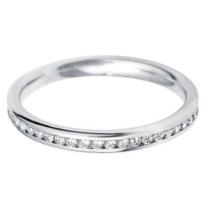 Diamond Court shape Half Channel set Wedding Ring