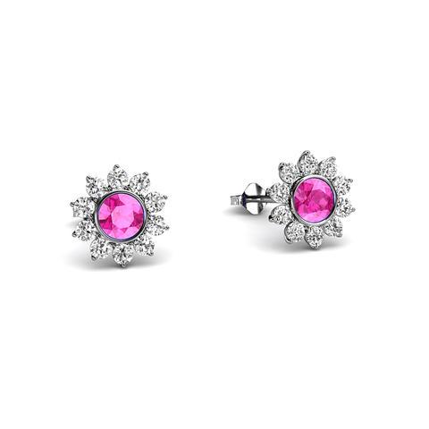 Halo Pink Sapphire Earrings