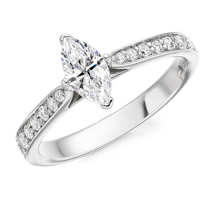 18ct White Gold marquise Diamond solitaire ring.