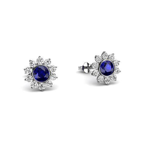 Halo Blue Sapphire Earrings