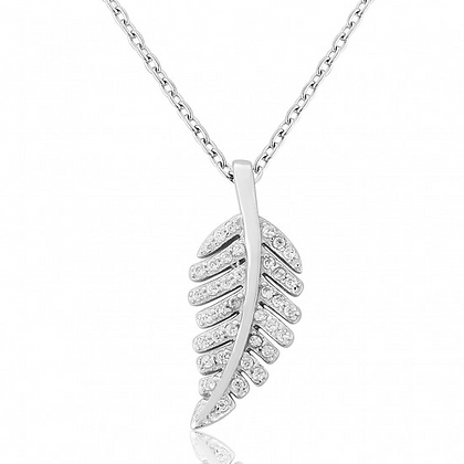 Waterford White Cubic Zirconia Leaf Pendant