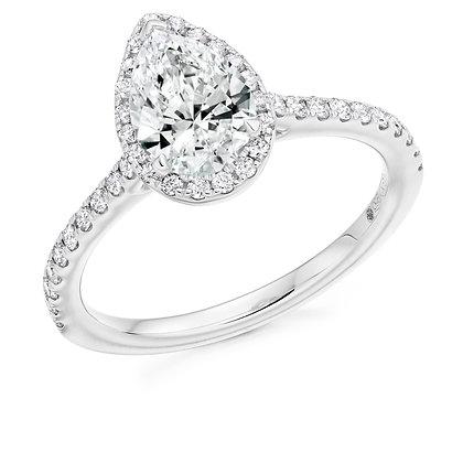 Platinum Pear shape Diamond Halo ring.