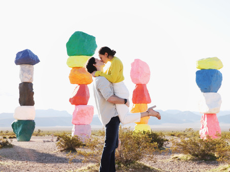 7 Magic Mountains Engagement Session | A Pop of Color in the Desert