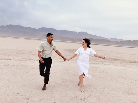 Dry Lake Bed Engagement Session | Wind & More Wind