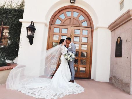St. Joseph's Husband of Mary & Canyon Gate Wedding   Jaquelyn & Ivan: Pastel Blues and Vegas Heat