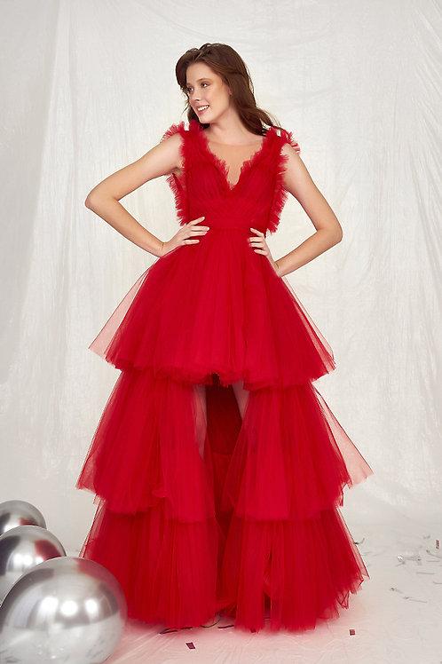 MugeM Red Long Dress