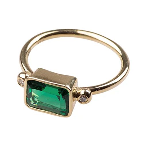 Monapetra Diamond Baguette Emerald Ring