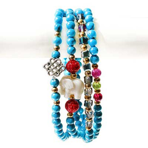 White Elephant 4-Wrap Bracelet- Turquoise