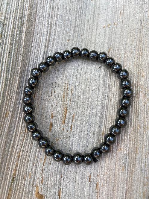 6mm Bead Hematite Women's Bracelet