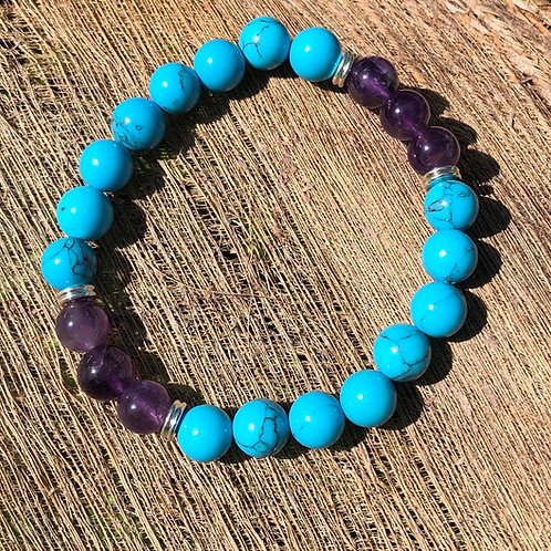 Amethyst and Turquoise 8mm Bracelet