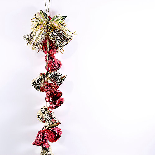 Christmas Decoration Hanging Bells Red And Gold