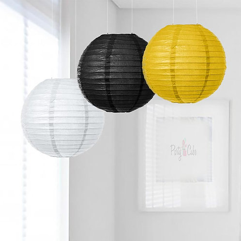 White, Black, Yellow Paper Lanterns Mix Color Set